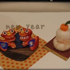 羊毛フェルト作品/シーサー/あけおめ/冬 今年もお正月に出してみました。 シーサー…