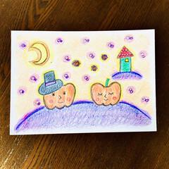 ハロウィン/イラスト/色鉛筆/インテリア 画用紙に色鉛筆で作成致しました  可愛ら…