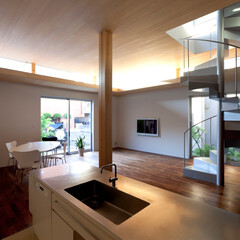 建築/住まい/リビング/おしゃれなリビングフォト投稿キャンペーン/ハウスデポジャパン/ラシエホームデザイン/... キッチンの床面を一段下げることで、リビン…