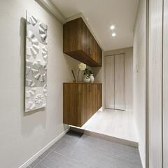 玄関/土間/玄関収納 殺風景になりがちな土間も、壁面に1つ絵な…