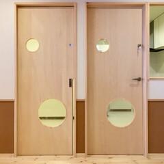 ドア/保育園/丸/木 保育園の2つのドア。  上下のガラスは、…