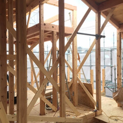 上棟/木造/二世帯/内部/工事/現場/... 2世帯住宅のO様邸、上棟しました。 内部…