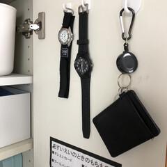 腕時計 メンズタイプ カシオスタンダード カシオ MW-59-7BJF | CASIO(メンズ腕時計)を使ったクチコミ「扉裏収納、こちらは長男の時計やICカード…」