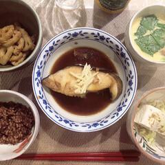 おうちごはん/きんぴら/冷や奴/酵素玄米/茶碗蒸し/銀だらの煮付け/... 週末は実家に帰ってご飯を作りました〜〜 …