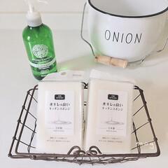 日本製/食器洗いスポンジ/スポンジ/セリア/無印良品 セリアの真っ白なキッチンスポンジ  見た…