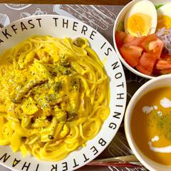 カボチャパウダー/カボチャのクリームパスタ/カボチャのポタージュ/カボチャ/おうちごはん 🍝カボチャパウダーで、晩ご飯🎃  ●ポタ…
