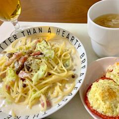 フライパン1つ/ビール/時短レシピ/簡単/トマトのたまマヨのせ/みそクリームパスタ/... 🍝昨日の晩ご飯🍝 (山本ゆりさんレシピ)…
