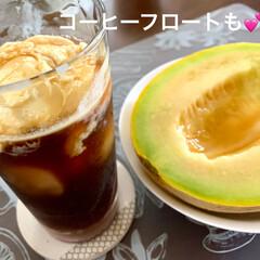 デザート/コーヒーフロート/バニラアイス/メロン/おうちカフェ お盆前に実家から届いた🍈メロン🍈❣️ 青…(3枚目)