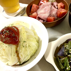 レンチン料理/おうちごはん/簡単/時短レシピ/ラク家事 🍚昨日の晩ご飯🍚  昨日はとっても暑かっ…