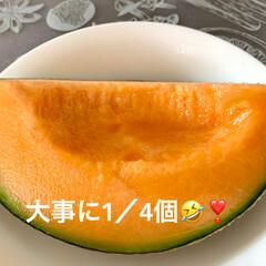 デザート/コーヒーフロート/バニラアイス/メロン/おうちカフェ お盆前に実家から届いた🍈メロン🍈❣️ 青…(4枚目)