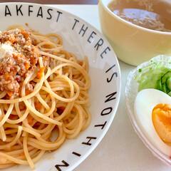 トマト/冷凍作り置き/時短レシピ/パスタ/手作りミートソース/ランチ/... 🍝昨日のランチ🍝  手作りミートソースで…