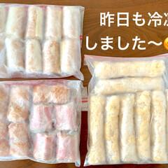アスパラベーコン/便利/チーズちくわ/レンチン/お弁当作り置き/冷凍/... 昨日、冷凍したものたちです😊‼️  ●小…