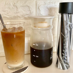 コーヒー/耐熱ガラスピッチャー/ストロー/モノトーン/ドリンクボトル/キャンドゥ/... まだまだ冷たい飲み物が美味しいですね😊 …