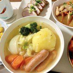 ポトフ/鶏と大根の照り煮/粉チーズかぼちゃ/トースター/レンチン/時短レシピ/... 🍚昨日の晩ご飯🍚  (山本ゆりさんレシピ…(1枚目)