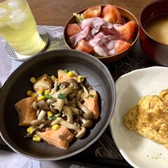 秋/秋鮭/レンチンレシピ/おうちごはん/簡単/時短レシピ 🍚昨日の晩ご飯🍚  ●レンチン♪鮭ときの…(4枚目)