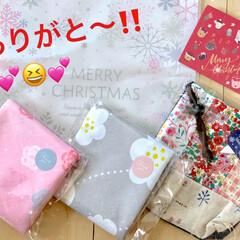 ポーチ/エコバッグ/ありがとう/手作り/かわいい/うれしい/... 昨日、リミ友さんから素敵なクリスマスプレ…