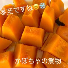 冷凍/自己流レンチン/かぼちゃの煮物/かぼちゃ/冬至 今日は❄️冬至❄️ですね😊 道の駅で買っ…
