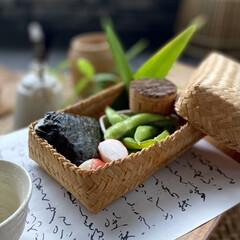 和歌のランチョンマット/竹籠弁当/ランチボックス/お弁当/ランチ/お弁当箱/... テラスでおもてなしランチ、竹籠弁当! 中…(1枚目)