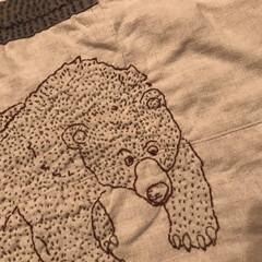 アニマル/刺繍/リネン/リメイク/ハンドメイド/DIY/... ハンドメイドのリネンマット  履かなくな…