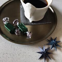 包み紙/星/折り紙/至福なひととき/お茶時間/コーヒー/... 遅めのコーヒータイム 綺麗な包みを見つけ…