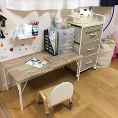 Ironna金具/DIY机/DIY/雑貨 3歳の娘の机をDIYしました^_^  ホ…
