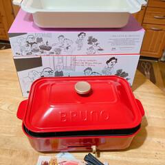 コンパクトホットプレート セラミックコート鍋セット レッド BOE021-SET-NABE-RD | BRUNO(ホットプレート)を使ったクチコミ「娘たちから、誕生日プレゼントに①BRUN…」