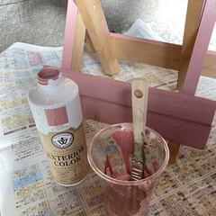 エクステリアカラー オールドピンク  水性着色剤 ウッドアトリエ | 和信ペイント(Washi Paint)(ニス、ステイン)を使ったクチコミ「無料モニターキャンペーンに当選🎉  さっ…」(3枚目)
