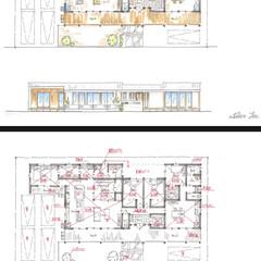 図面/手描き/スケッチ/間取り図/間取り/プラン/... 平屋の二世帯住宅