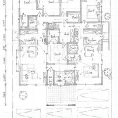 手描き/スケッチ/間取り図/間取り/図面/設計士/... 平屋の二世帯住宅2