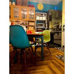 生活感丸見え/キッチンすっきりラック/山善/オニキスミラー/Panasonic冷蔵庫/ターコイズブルーの壁/... 一見片付いてるように見える ダイニングエ…