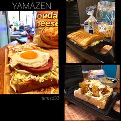 山善 具だくさんホットサンドメーカー YSB−S420 B   山善(ワッフル、ホットサンドメイカー)を使ったクチコミ「休日の朝ごはん🥪  食パンを間違えて買っ…」(2枚目)