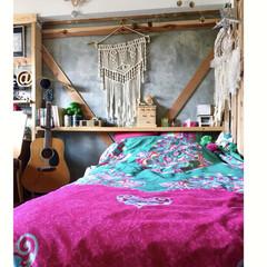 アコースティックギター/分子構造模型/理系インテリア/DIY/棚/ドリームキャッチャー/... 娘の部屋 本日は緑バージョンの ベッドカ…