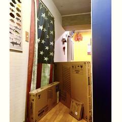 アメリカ国旗/セルフリノベーション/アクセントクロス/玄関廊下/マンション/アルミエアコンカバー/... 山善 隠すガーデン家具 モニター品 夜、…
