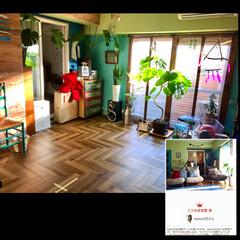 ビーチスタイル/海を感じるインテリア/ヘリンボーン/床DIY/水色/ビーチカフェ/... 何度もRoomClip magに掲載され…