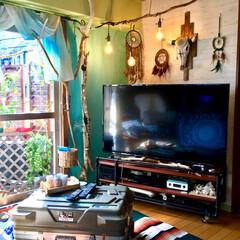 テレビボード/ガス管/リビング/ビーチスタイル/海を感じるインテリア/流木/... コレDIYしたよ!  壁を貼り替え、窓枠…