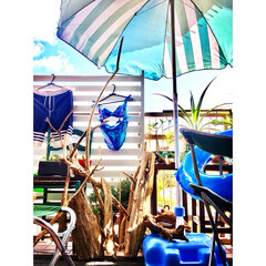 天日干し/アルミボーダーフェンス/ビーチ/ビーチパラソル/ビーチハウス風/海を感じるインテリア/... 先日、海で拾ってきた流木  お風呂で熱湯…