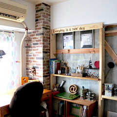 SOHO/倉庫風/理系インテリア/ウォリスト/棚DIY/コンクリート打ちっぱなし/... 1枚前の全景 子供部屋の試作棚  セルフ…