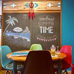 カフェ風/黒板アート/ビーチ/海を感じるインテリア/イームズチェア/セルフリノベーション/... 【夏の模様替え】 一年中、夏っぽい我が家…
