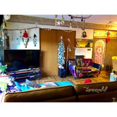 クリスマスツリー ニトリ/黒板アート/関家具/レザーテックス/くらしとオリジナルソファ/流木照明DIY/... DIYしたリビング  キャメルソファの後…