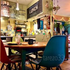 クリスマス/一人ランチ/イームズチェア/円形テーブル/ダイニングテーブル/のぞき窓DIY/... ようこそ! cafe TAREZOへ ラ…