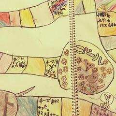 色鉛筆/すごろく/ハンドメイド 息子と共同制作した、「ネズミ双六」。おし…