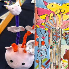 紙粘土/水彩絵の具/小4/図工 息子の作品。左→猫のタネ 右→猫の木 猫…