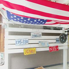 カリフォルニアスタイル/アメリカン/パーゴラ/ガレージハウス/ガレージ/セリア/... わたしも手作り🔧  DIYしたサイクルガ…