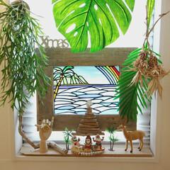 流木ツリー/クリスマスツリー/DIY/ハンドメイド/ニトリ/無印良品/... 窓際のALOHAなコーナー🌈  この時期…