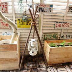 ランタンハンガー/アウトドアリビング/グランピング/ベランピング/クラフトマーケット/秋/... わたしの手作り🔧  お庭を剪定して出た枝…