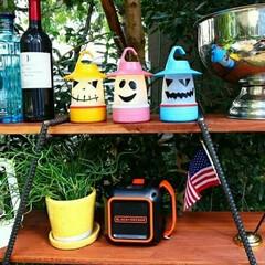 スマイルLEDランタン タンポポ PEVS1010YE スパイス | SPICE of Life(懐中電灯、ハンディライト)を使ったクチコミ「週末のハロウィンパーティー🎃  お庭でB…」