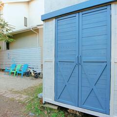 カリフォルニアスタイル/カリフォルニア/ガーデニング/ガレージ/物置/ダイソー/... わたしの手作り🔧  古くなったお庭の物置…