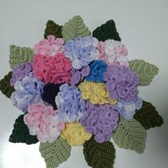 シュシュ/壁掛け/紫陽花/レース糸/ハンドメイド/雑貨/... オリムパスのエミーグランデの糸で編み上げ…