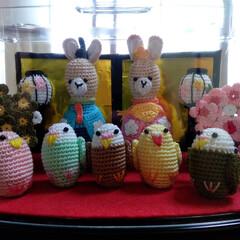 飾り/かぎ針編み/お雛様/雑貨/ハンドメイド ☆うさぎと小鳥の雛人形☆ うさぎのお内裏…