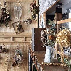 カフェ風インテリア/カフェ風/ナチュラルインテリア/ナチュラル/木工/DIY女子/... 大好きなドライフラワーを飾る 棚を作成し…